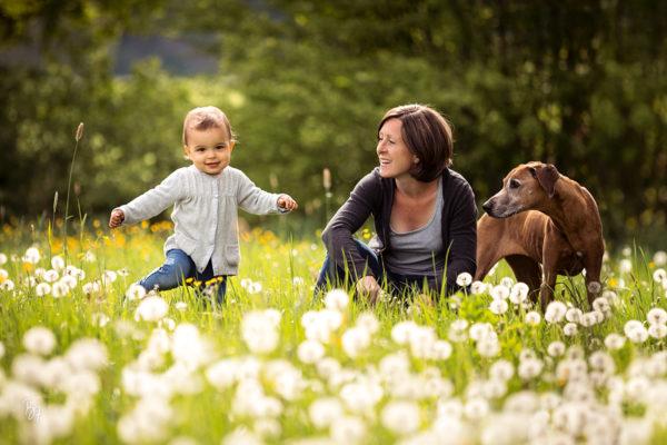 Mädels-Session mit Kleinkind, Pferd und Hund